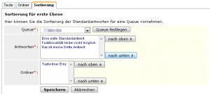 CS-Ticket: Sortierung von Standardantworten und Ordnern