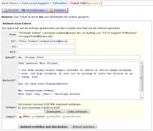 CS-Ticket: Antworten-Fenster